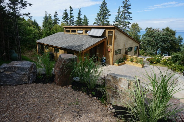 Our home, perched halfway down a long steep slope towards the Bay of Fundy.